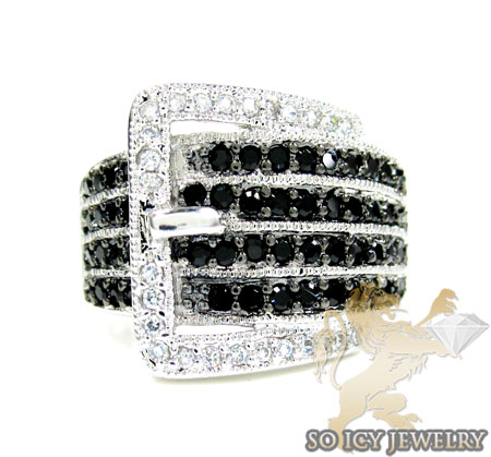 Sterling Silver Black & White Cz Fashion Ring 4.00ct