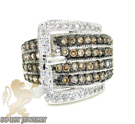 Sterling Silver Champagne & White Cz Fashion Ring 4.00ct