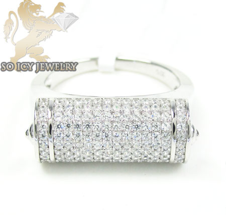 Unisex Sterling Silver White Cz Fashion Ring 2.50ct