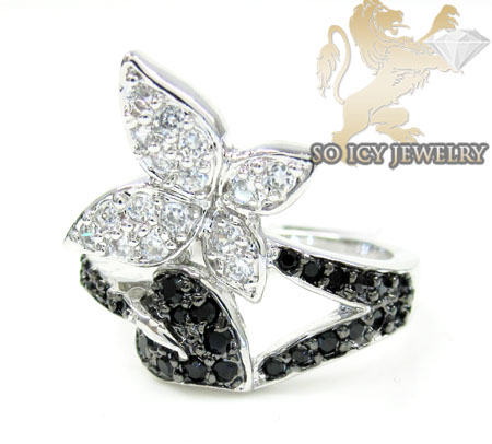 Sterling Silver Black & White Cz Butterfly Ring 1.25ct