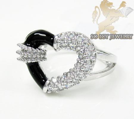 Sterling Silver White Cz Black Enamel Heart Ring 0.25ct