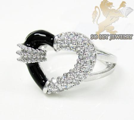 Sterling Silver White Cz Black Enamel Heart Ring 0.25ct