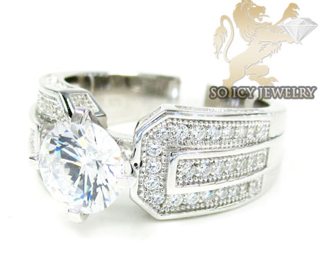Sterling Silver White Cz Engagement Ring 2.00ct
