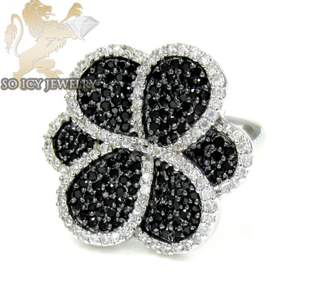 Sterling Silver Black & White Cz Flower Ring 3.00ct