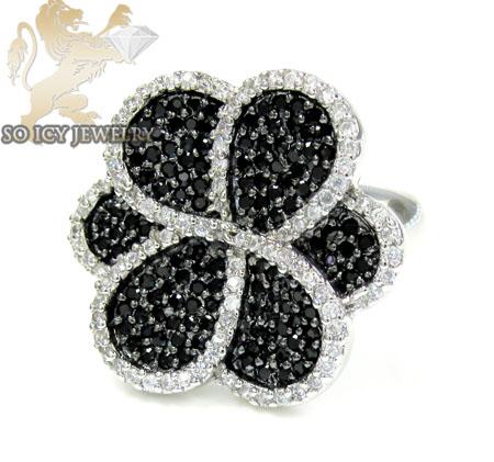 Sterling Silver Black & White Cz Flower Ring 3.00ct