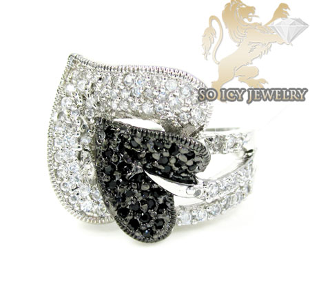 Sterling Silver Black & White Cz Heart Ring 1.00ct