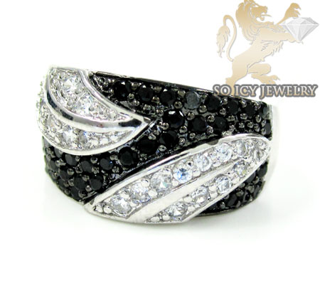 Sterling Silver Black & White Cz Fashion Ring 1.25ct