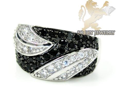 Sterling Silver Black & White Cz Fashion Ring 1.25ct