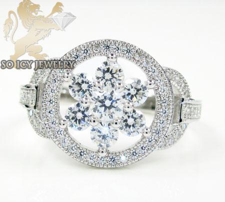 Sterling Silver White Cz Fancy Flower Ring 2.00ct