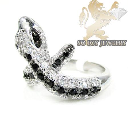 Sterling Silver Black & White Cz Snake Ring 1.00ct
