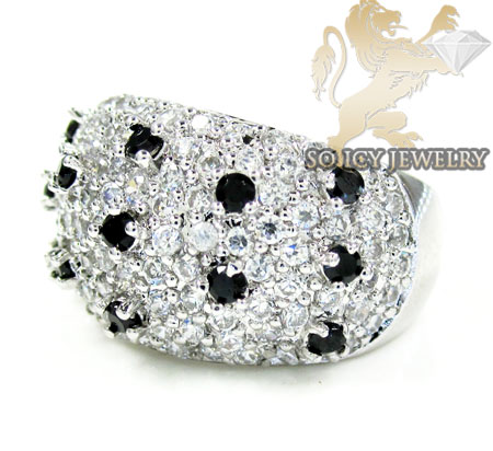 Sterling Silver Black & White Cz Cluster Ring 2.00ct