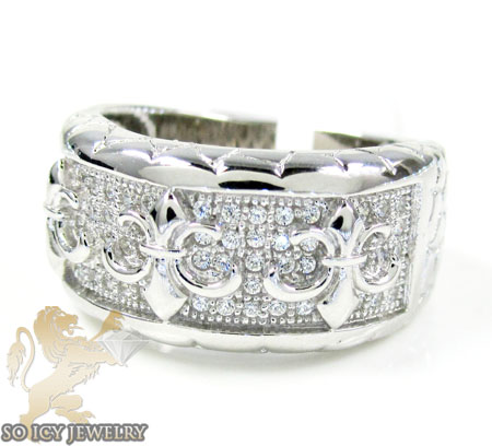 Sterling Silver White Cz Fancy Fashion Ring 1.00ct