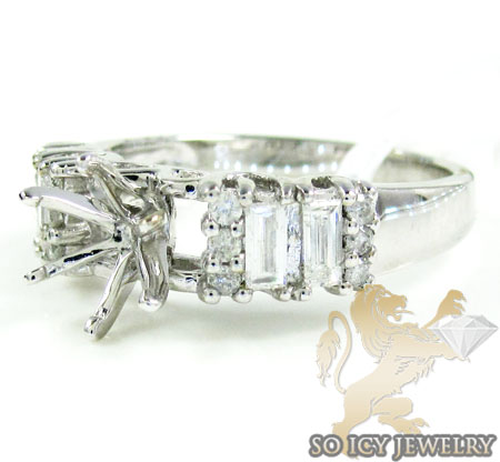 Ladies 14k White Gold Baguette Diamond Semi Mount Ring 0.47ct