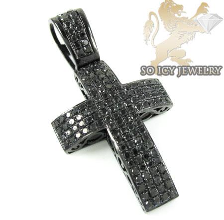 Black Sterling Silver Black Diamond Cross 3.73ct