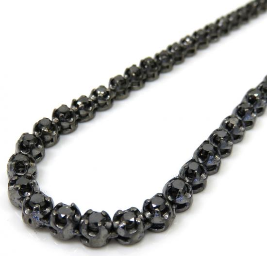 Black Sterling Silver Black Diamond Tennis Chain 13.07ct 20-32'