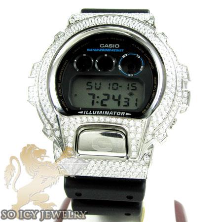 Mens White Cz Dw-6900 G-shock Watch 5.00ct
