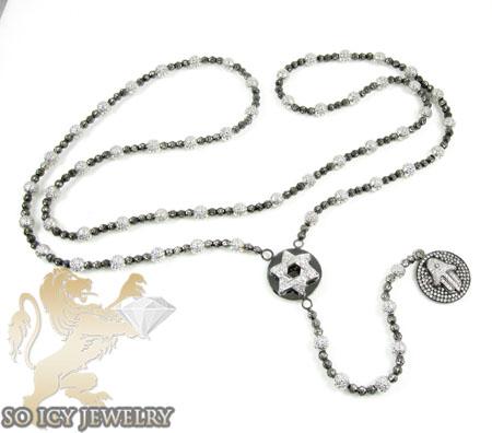14k Black & White Gold Diamond Jewish Rosary Necklace 1.00ct