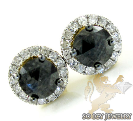 10k white gold black cluster diamond earrings 1.01ct
