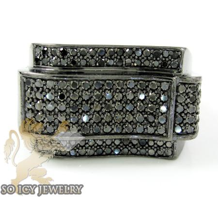 Black Sterling Silver Fancy Diamond Ring 2.25ct