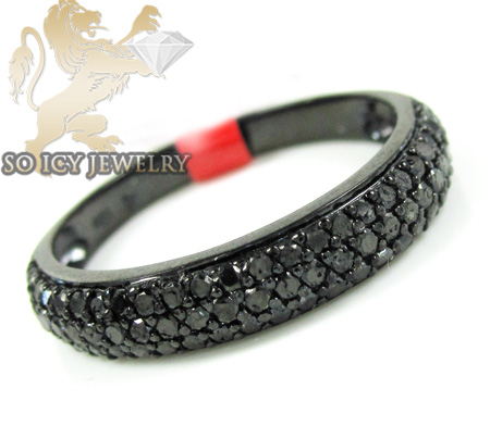 black sterling silver fancy black diamond wedding band 091ct - Mens Black Diamond Wedding Ring