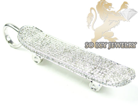 10k white gold round diamond skate board pendant 2.15ct