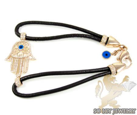14k Rose Gold Diamond Evil Eye Hamsa Bracelet 0.60ct