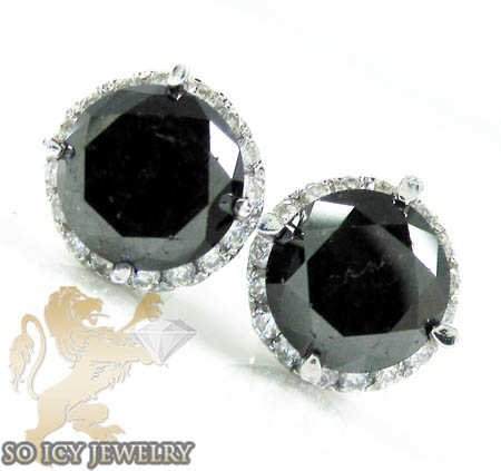 14k white gold black cluster round diamond earrings 3.90ct