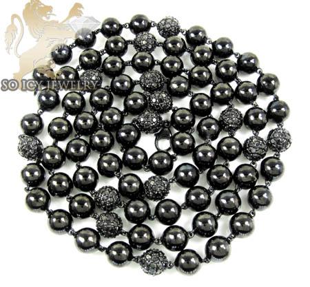 10k Black Gold Round Black Diamond Bead Ball Chain 9.75ct