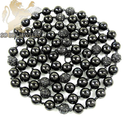 10k black gold round black diamond bead ball chain 9.75ct