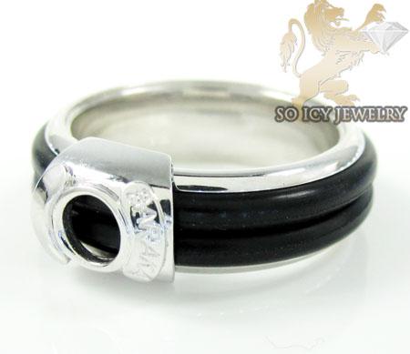 Mens baraka 18k white gold rubber wedding band