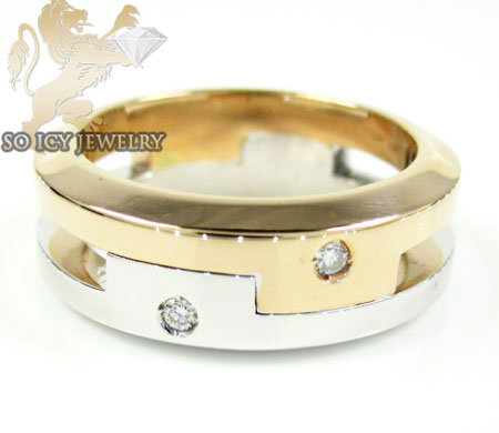 Mens baraka 18k white & rose gold diamond wedding band 0.04ct