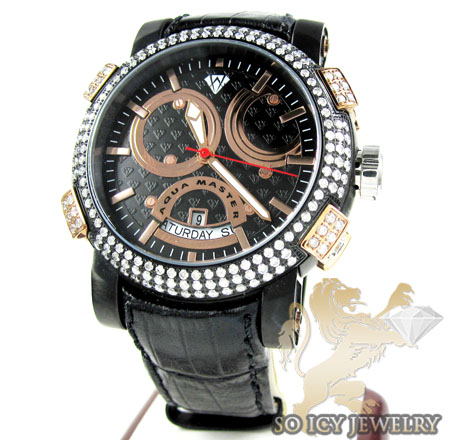 Mens aqua master black & rose steel diamond automatic titanic watch 3.50ct