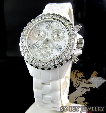 LADIES TECHNO JPM WHITE CERAMIC DIAMOND WATCH 2.25CT