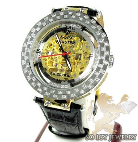Mens aqua mater yellow & white steel automatic diamond watch 1.25ct