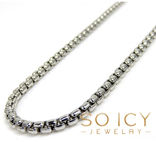 14k white gold box link chain 16-22 inch 2mm
