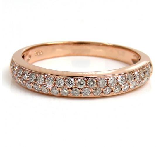 Ladies 14k Rose Gold Diamond Wedding Band 0.18ct