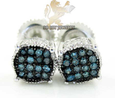 .925 White Sterling Silver Blue Diamond Earrings 0.45ct