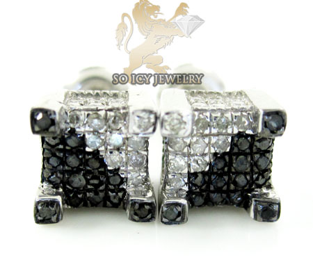 .925 WHITE STERLING SILVER BLACK & WHITE DIAMOND EARRINGS 0.45CT