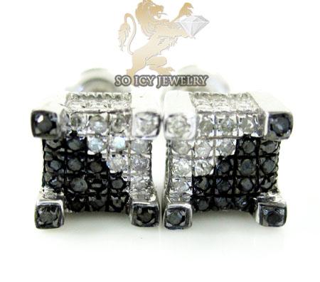 .925 White Sterling Silver Black & White Diamond Earrings 0.45ct