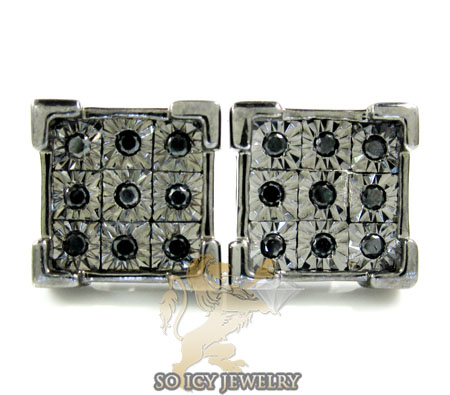 .925 Black Sterling Silver Diamond Cut Black Diamond Earrings 0.50ct