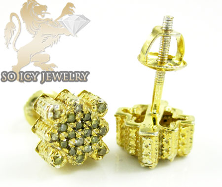 .925 yellow sterling silver canary diamond earrings 0.30ct