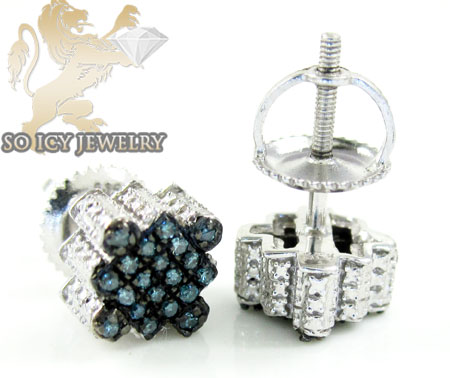 .925 white sterling silver blue diamond earrings 0.30ct