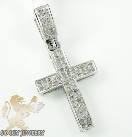.925 White Sterling Silver White Diamond Cross 0.35ct