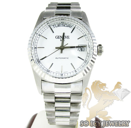 14k white gold geneve gold mens watch