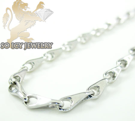 14k white gold bullet link chain 18 inch 2mm