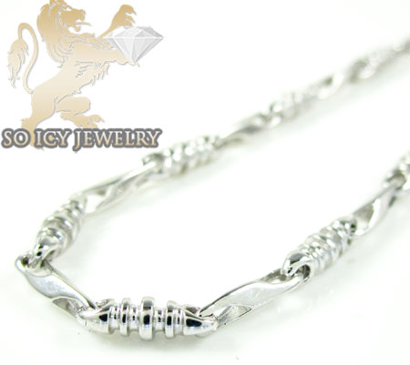 14k white gold bullet link chain 20 inch 2.8mm