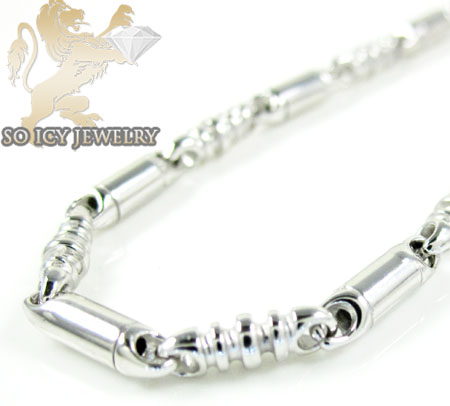 14k white gold bullet link chain 22 inch 2.8mm