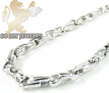 14k white gold bullet link chain 24 inch 3.8mm