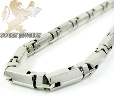 14k white gold bullet link chain 24 inch 5mm