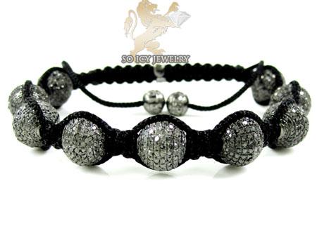 10k Black Gold Macramé Faceted Bead Rope Black Diamond Bracelet 7.86ct